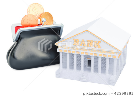 Banking concept with purse full of golden coins 42599293