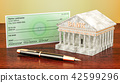 Banking system, cheque with fountain pen 42599296