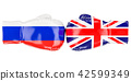 Boxing gloves with British and Russian flags 42599349