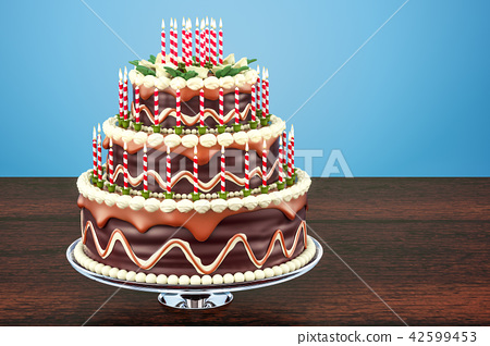 Awesome Chocolate Birthday Cake With Candles On Stand Stock Illustration Birthday Cards Printable Benkemecafe Filternl