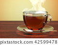Cup of tea on the wooden table. 3D rendering 42599478