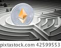 Ethereum at center of dark maze, 3D rendering 42599553