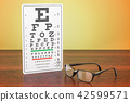 Eye Chart and Glasses on the wooden table 42599571