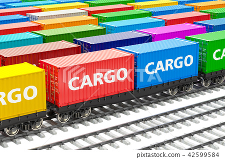 Freight trains station with cargo containers 42599584