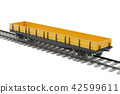 Goods wagon on the railway, 3D rendering 42599611