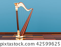 Harp on the wooden floor in the room, 3D rendering 42599625