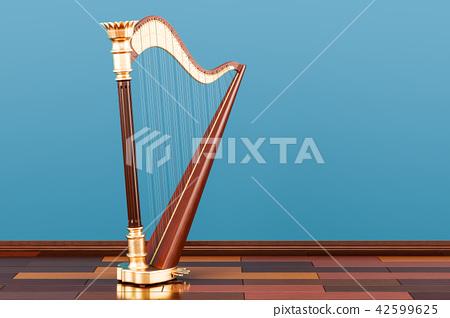 Harp on the wooden floor in the room, 3D rendering 42599625