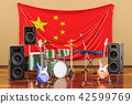 Music, rock bands from China concept, 3D rendering 42599769