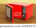 Red microwave on the wooden table. 3D rendering 42600473