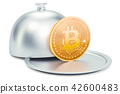 Restaurant cloche with bitcoin, 3D rendering 42600483