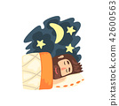 Man sleeping in his bed at night vector Illustration on a white background 42600563