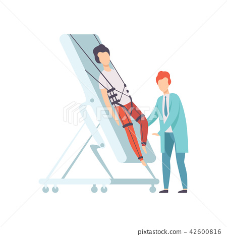 Therapist working with disabled male patient using special equipment, recovery after trauma, medical 42600816