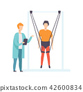 Therapist working with disabled patient using special ropes for intense body training, healthy 42600834