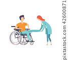 Female doctor helping woman sitting on wheelchair, medical rehabilitation, physical therapy activity 42600871