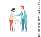 Disabled woman walking, using a walker, medical rehabilitation, physical therapy activity vector 42600891
