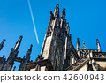 plane over famous St. Vitus Cathedral in Prague 42600943