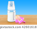 Baby bottle with milk and pink pacifier 42601618