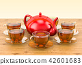 Cups of tea and teapot on the wooden table 42601683