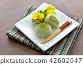 green tea mochi, wagashi, japanese confectionery 42602047