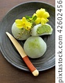 green tea mochi, wagashi, japanese confectionery 42602456