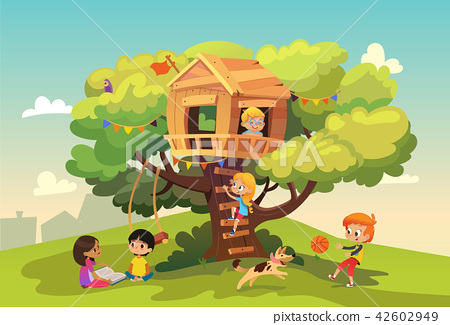 Happy multiracial boys and girls playing and having fun in the treehouse, kids playing with dog, and 42602949