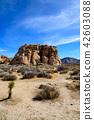 约书亚树国家公园,美国的奇怪的岩石小组垂直的构成 42603088