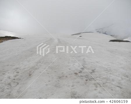 Snow scene in front of Murodo station 42606159