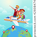 Summer Journey, travel concept. Happy family rides on plane on vacation. Cartoon vector illustration 42608474