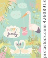 Cartoon swans in love and stork with baby 42608913