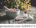 Mortar of healing herbs and homeopathic globules. 42609172