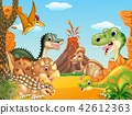 Cartoon happy dinosaurs with volcano 42612363