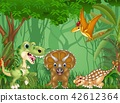 Cartoon happy dinosaurs in the jungle 42612364