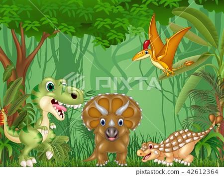 Cartoon happy dinosaurs in the jungle 42612364