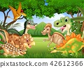 Cartoon happy dinosaurs living in the jungle 42612366