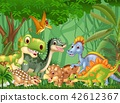 Cartoon happy dinosaurs living in the jungle 42612367