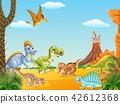 Cartoon happy dinosaurs with volcano 42612368