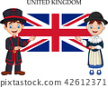 Cartoon United Kingdom couple wearing traditional  42612371