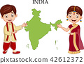 Cartoon Indian couple wearing traditional costume 42612372