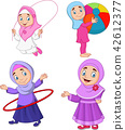 Cartoon muslim girls with different hobbies 42612377