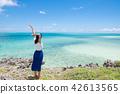 오키나와의 바다와 여성 홀로 여행 42613565