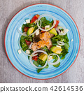 Deliciously salad of fried trout with avocado, grapefruit and corn salad 42614536