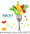Healthy Fruit Vegetable Diet Eat Cartoon Vector 42614871