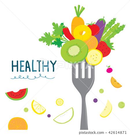 Healthy Fruit Vegetable Diet Eat Cartoon Vector 42614871