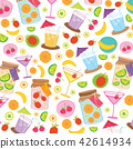 Fruit Juice Drink Cute cartoon Gift Wrap Vector 42614934