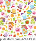 Fruit Juice Drink Cute cartoon Gift Wrap Vector 42614934