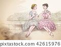 Retro women having tea together 42615976