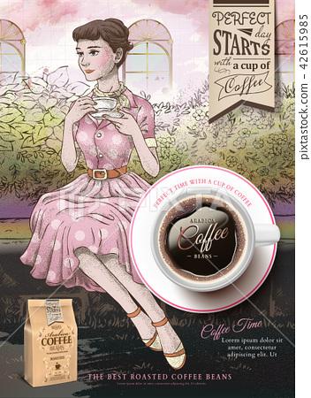 Retro coffee beans ads 42615985