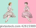 Retro women having tea together 42615989