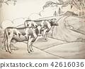 Engraving style farm background 42616036