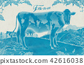 Engraved lovely dairy cattle 42616038